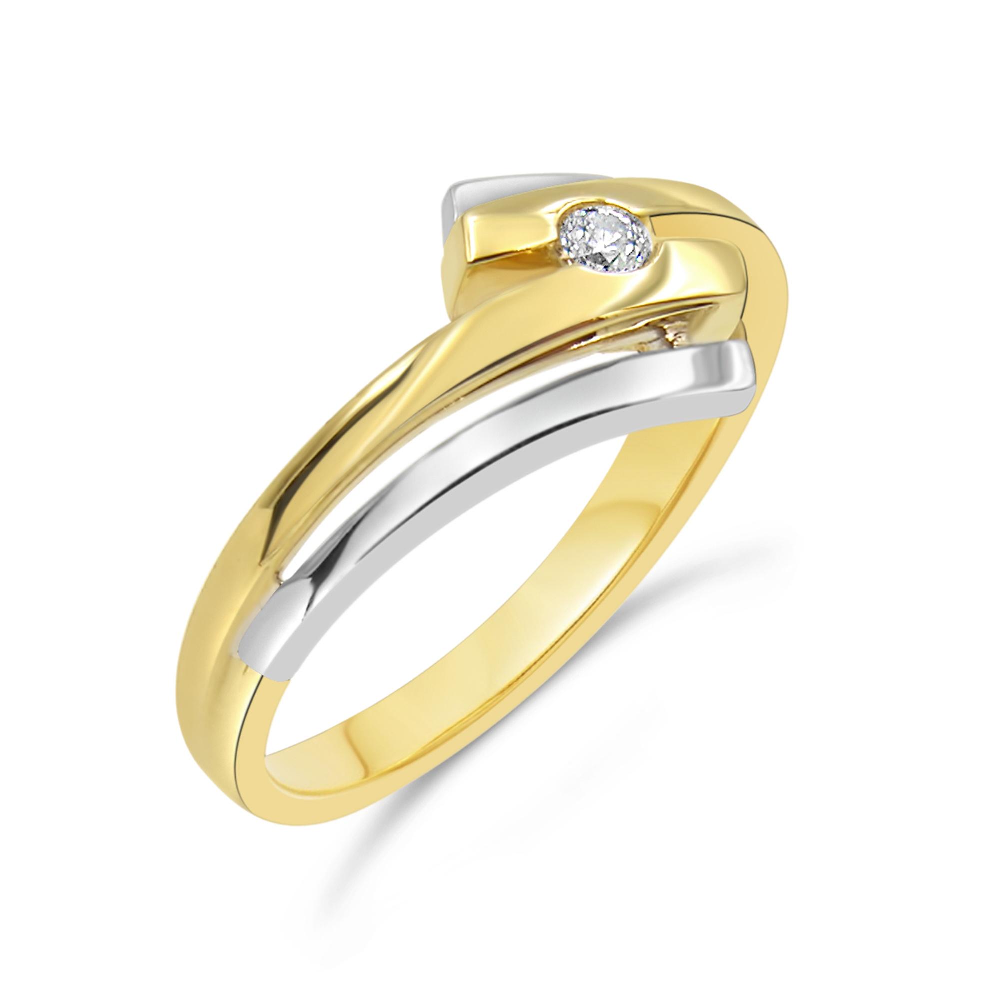 14 karat yellow gold engagement ring with 0.05 ct diamond