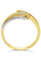 14 karaat geel goud verlovingsring met 0.05 ct diamant