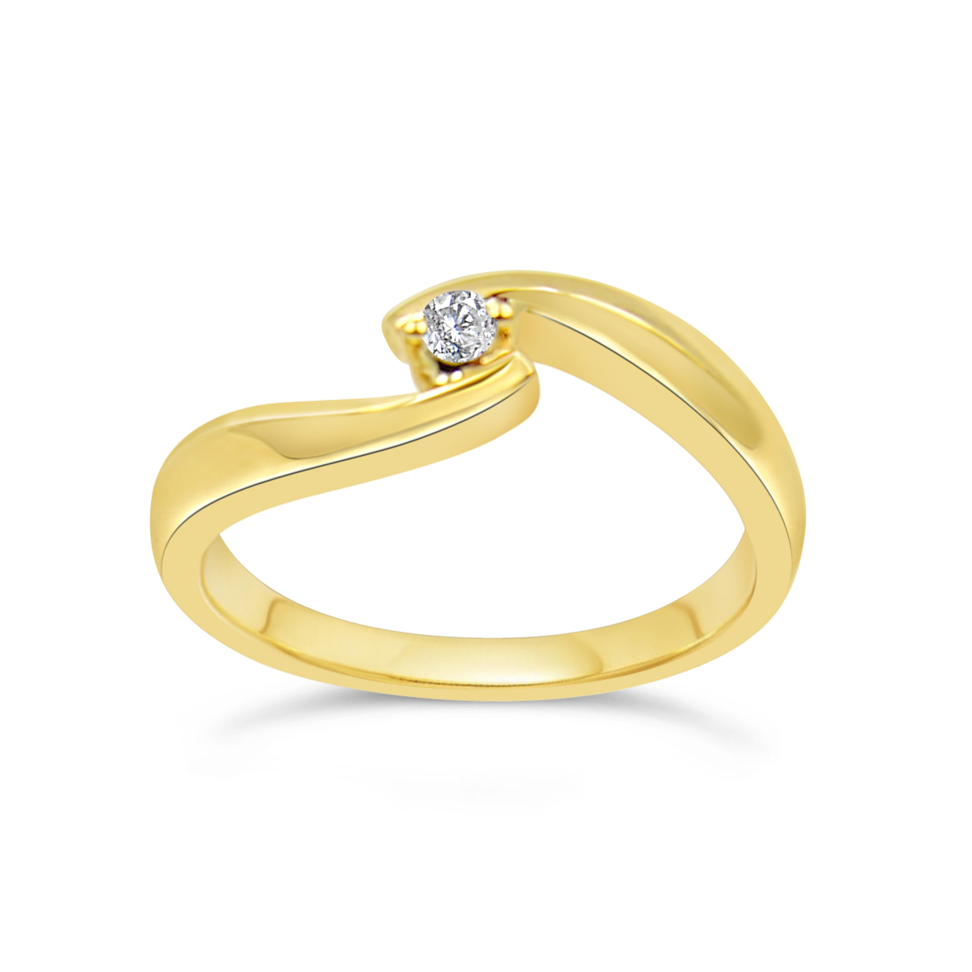 18kt yellow gold engagement ring with 0.04 ct diamond