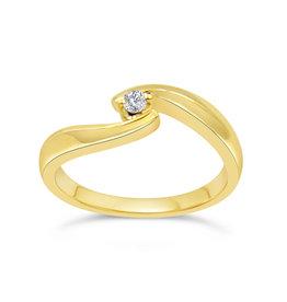 18kt geel goud verlovingsring met 0.04 ct diamant