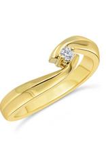 18 karaat geel goud verlovingsring met 0.04 ct diamant