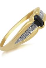 18 karaat geel en wit goud verlovingsring met 0.02 ct diamanten en 0.20 ct saffier