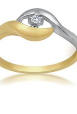 18 karat yellow and white gold engagement ring with 0.03 ct diamond