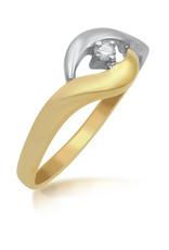 18kt geel en wit goud verlovingsring met 0.03 ct diamant