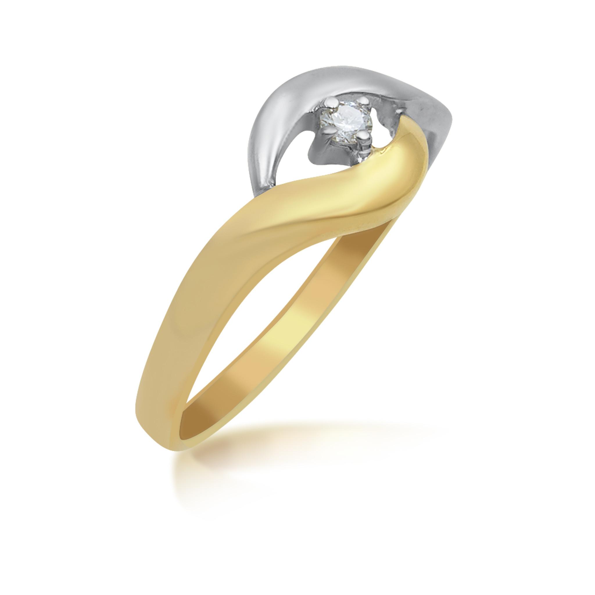 18 karaat geel en wit goud verlovingsring met 0.03 ct diamant