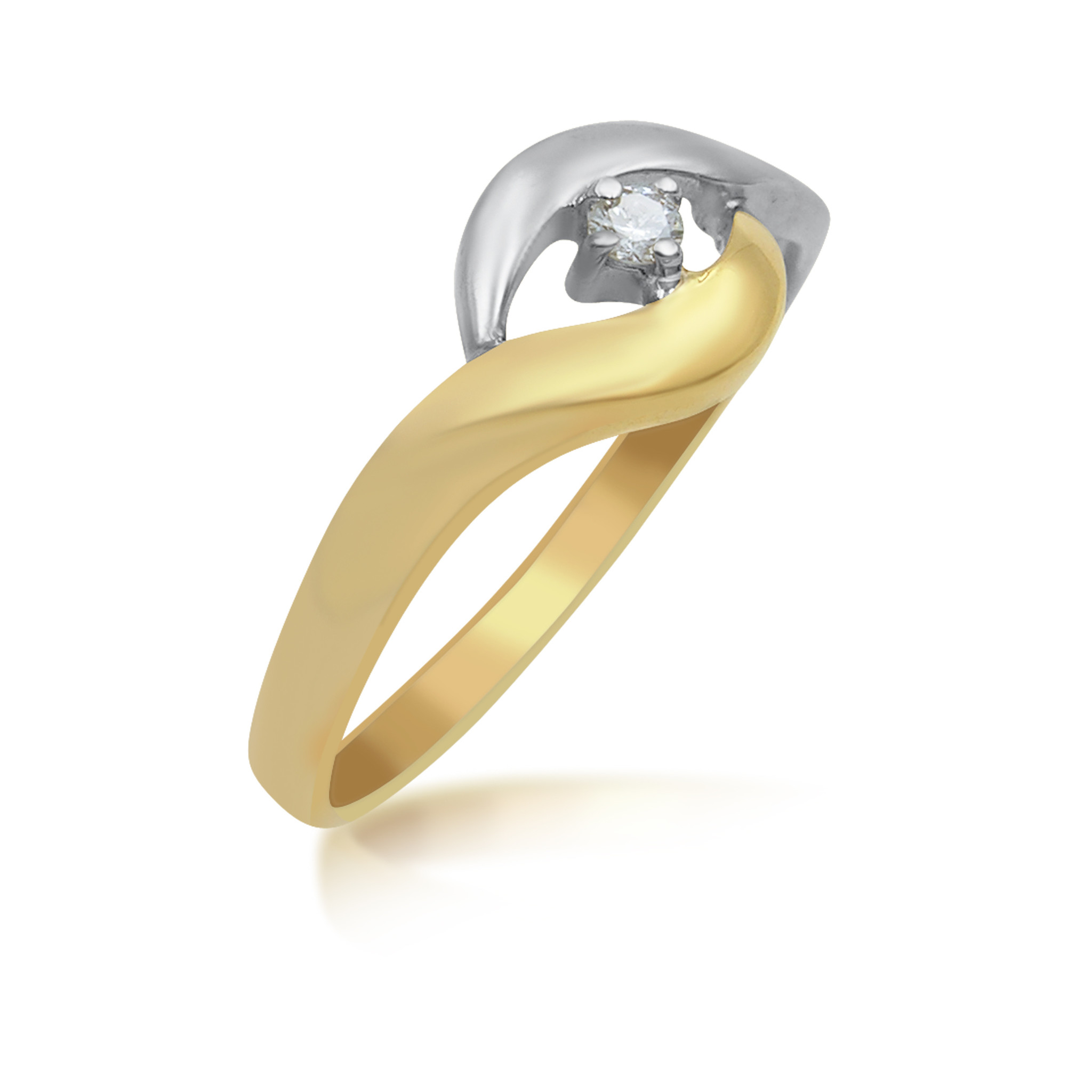 18kt yellow and white gold engagement ring with 0.03 ct diamond