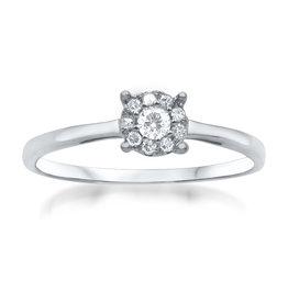 18 karaat wit goud verlovingsring met 0.15 ct diamanten