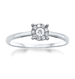 18 karat white gold engagement ring with 0.15 ct diamonds