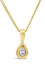 18 karaat geel goud hanger met 0.10 ct diamant