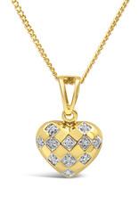 18kt  geel goud hart hanger met 0.10 ct diamanten