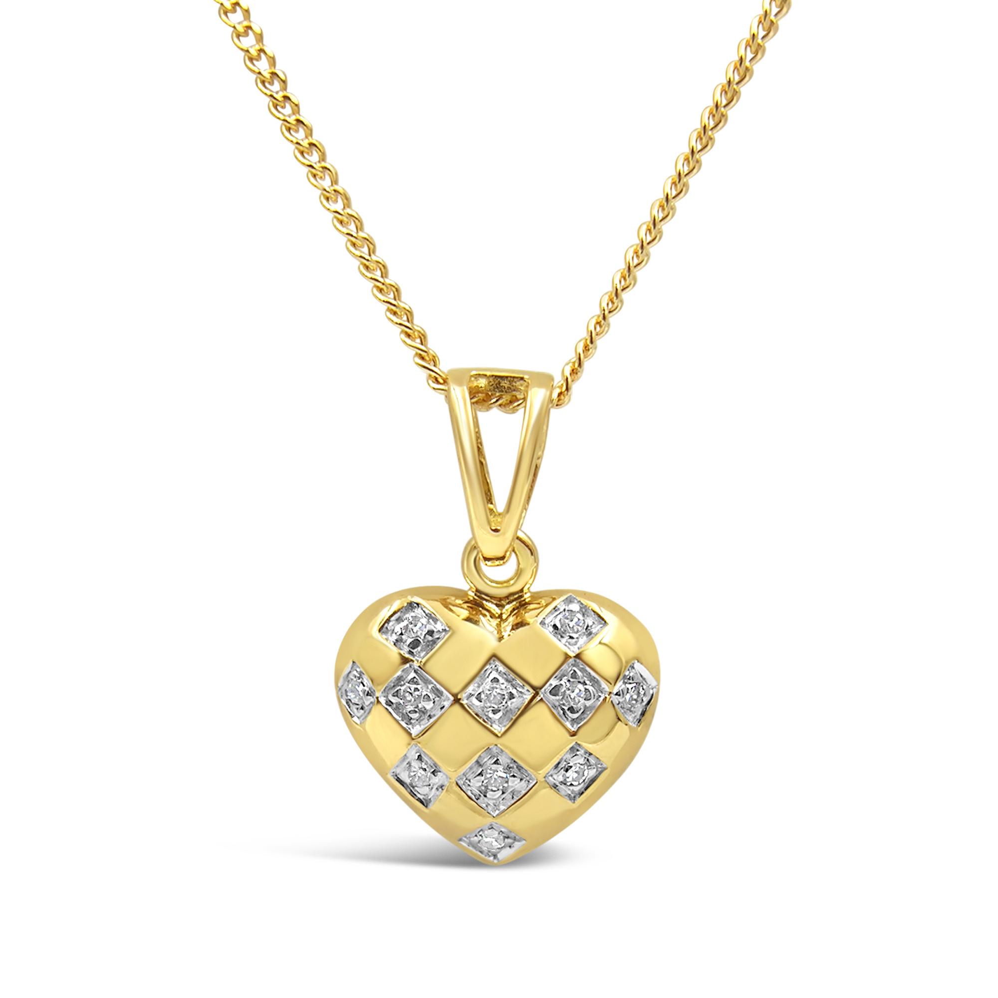 18 karaat geel goud hart hanger met 0.10 ct diamanten