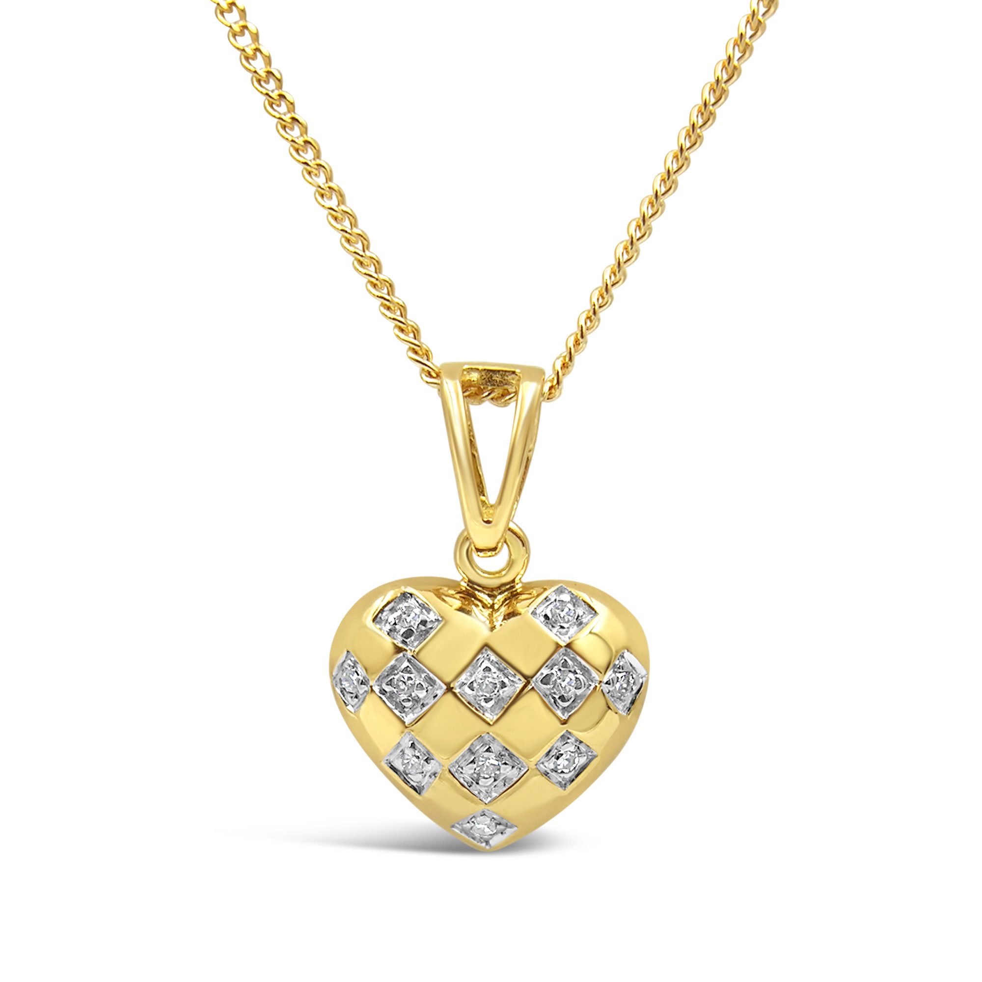 18kt yellow gold heart pendant with 0.10 ct diamonds