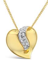 18 karaat geel en wit goud hart hanger met 0.10 ct diamanten