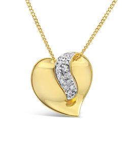 18 karat yellow and white gold heart pendant with 0.10 ct diamonds