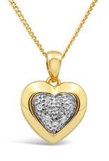 18kt geel en wit goud hart hanger met 0.05 ct diamanten