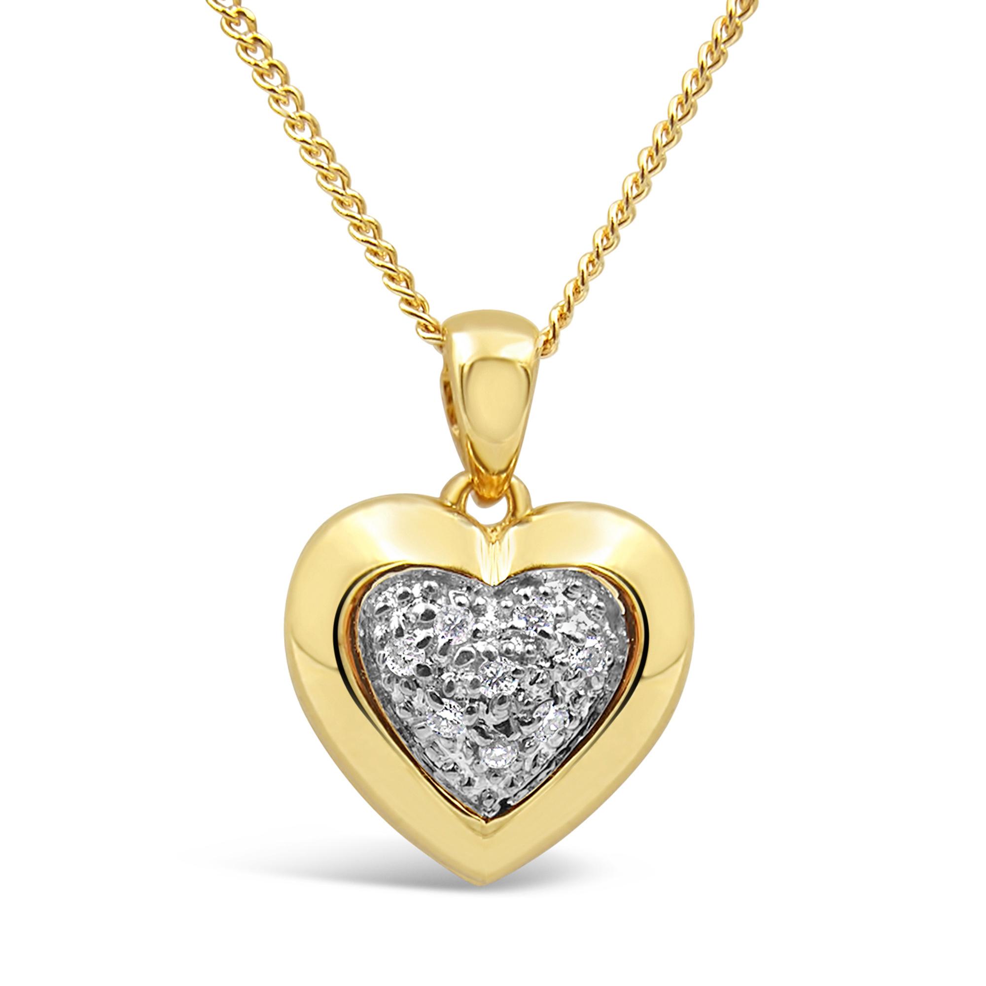 18 karaat geel en wit goud hart hanger met 0.05 ct diamanten