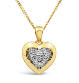 18kt yellow and white gold heart pendant with 0.05 ct diamonds