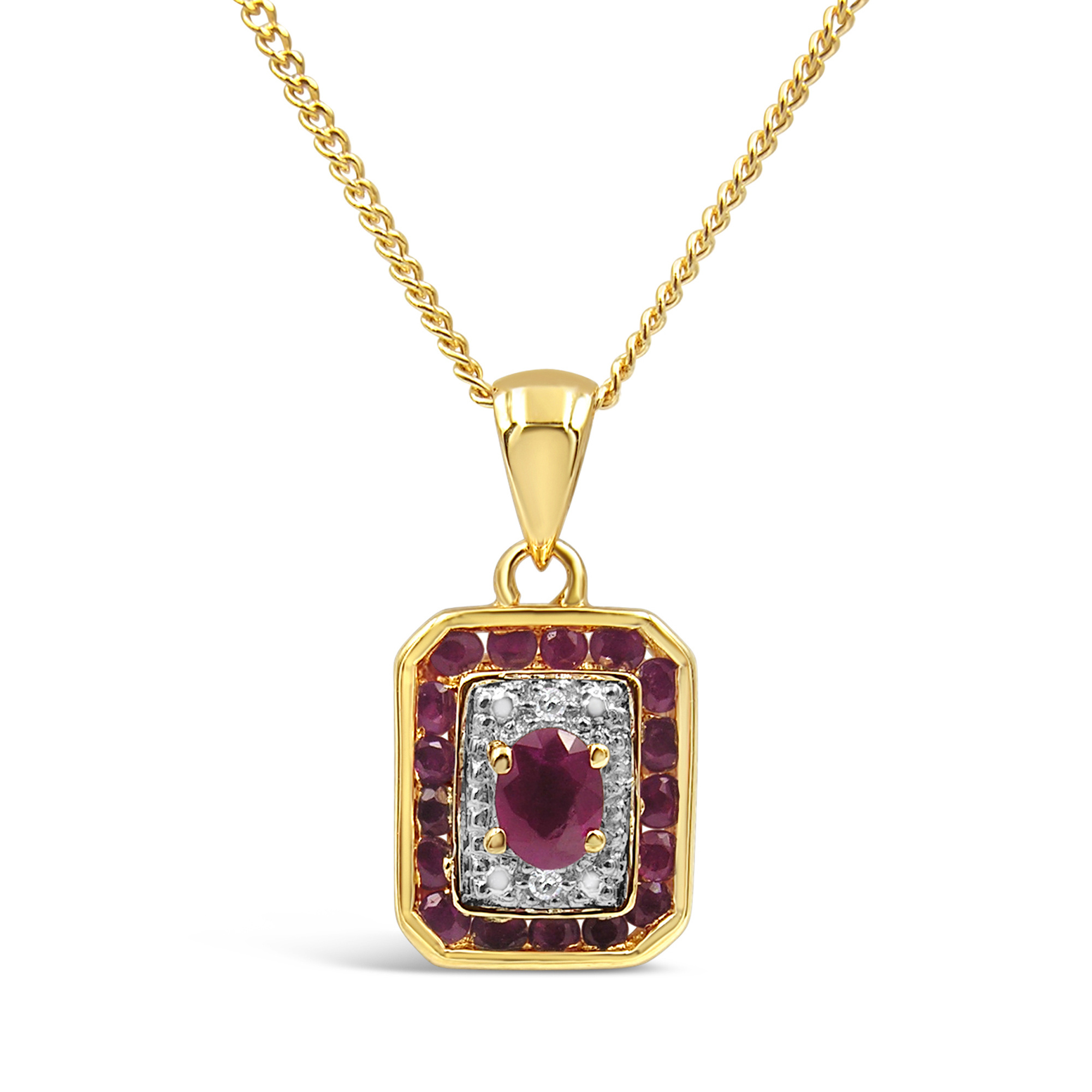 18kt yellow and white gold pendant with 0.02 ct diamonds en 0.50 ct rubies