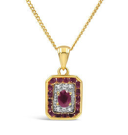 18 karat yellow and white gold pendant with 0.02 ct diamonds en 0.50 ct rubies