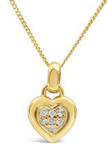 18kt geel goud hart hanger met 0.15 ct diamanten