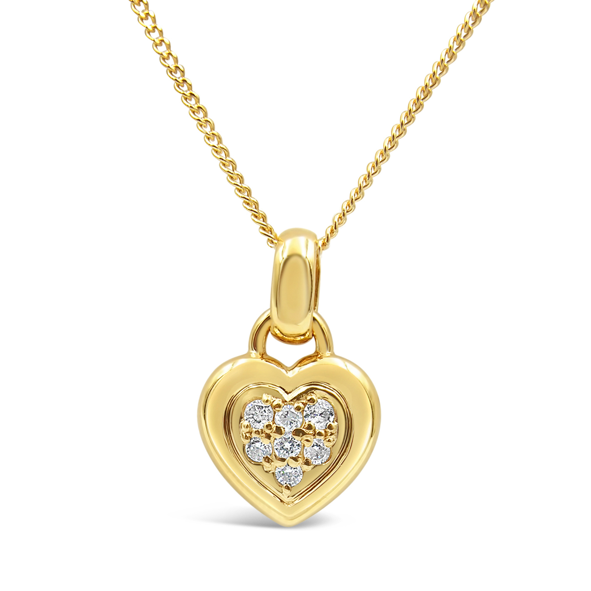 18kt yellow gold heart pendant with 0.15 ct diamonds