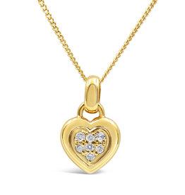 18 karaat geel goud hart hanger met 0.15 ct diamanten