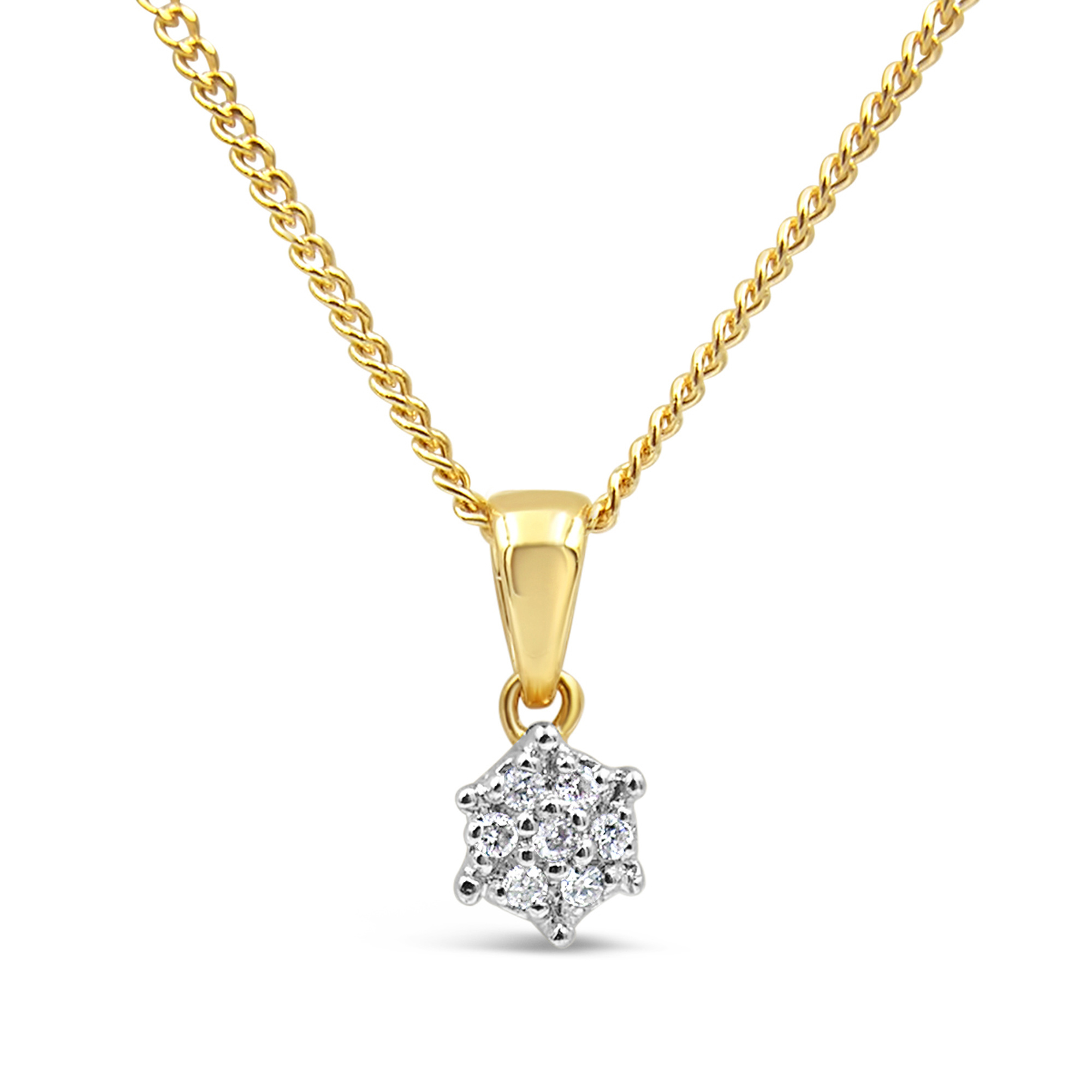 18kt geel & wit goud hanger met 0.05 ct diamanten