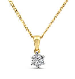 18 karaat geel & wit goud hanger met 0.05 ct diamanten