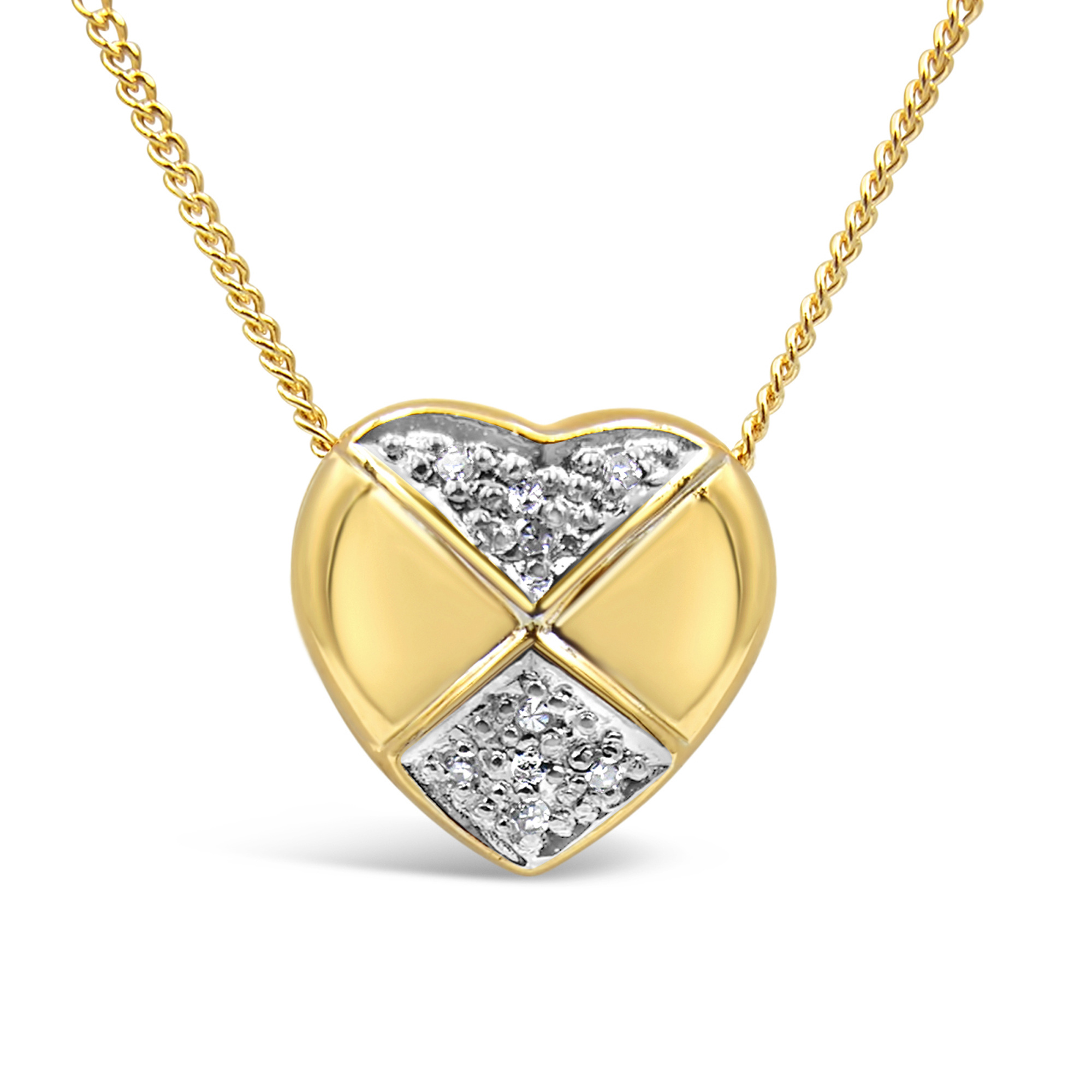 18kt yellow & white gold heart pendant with 0.04 ct diamonds