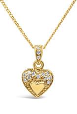 18 karat yellow gold heart pendant with 0.10 ct diamonds