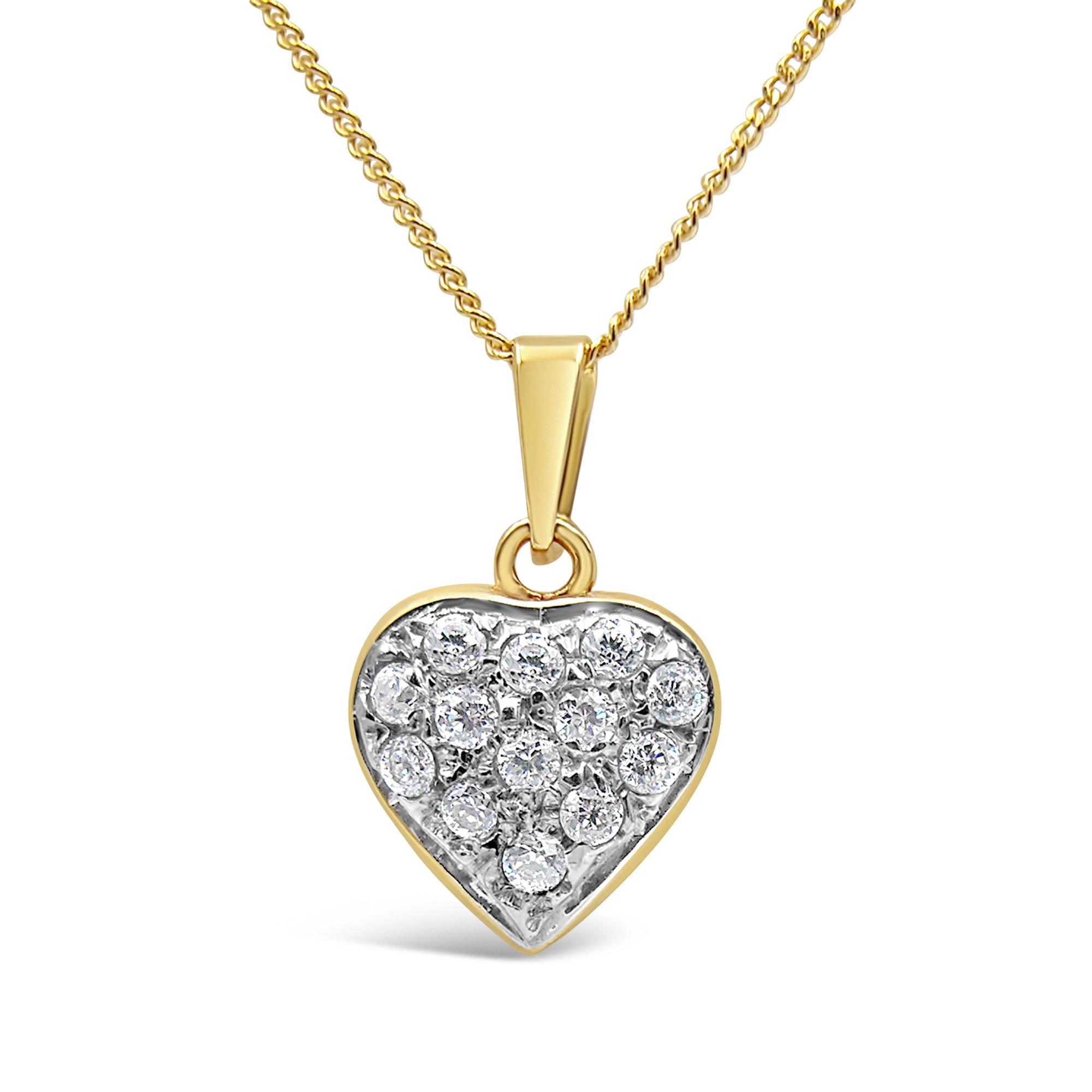 18 karaat geel en wit goud hart hanger met zirkonia