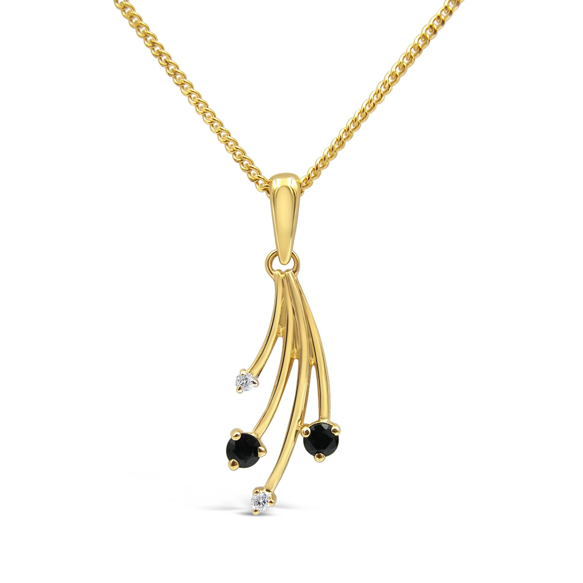 18 karaat geel goud hanger met 0.02 ct diamanten & 0.10 ct safier