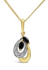 18 karaat geel & wit goud hanger met 0.02 ct diamanten & 0.20 ct safier