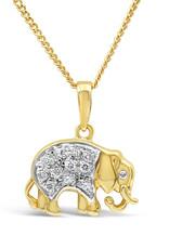 18 karaat geel & wit goud olifant hanger met 0.12 ct diamanten