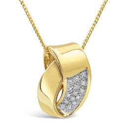14 karaat geel & wit goud hanger met 0.15 ct diamanten