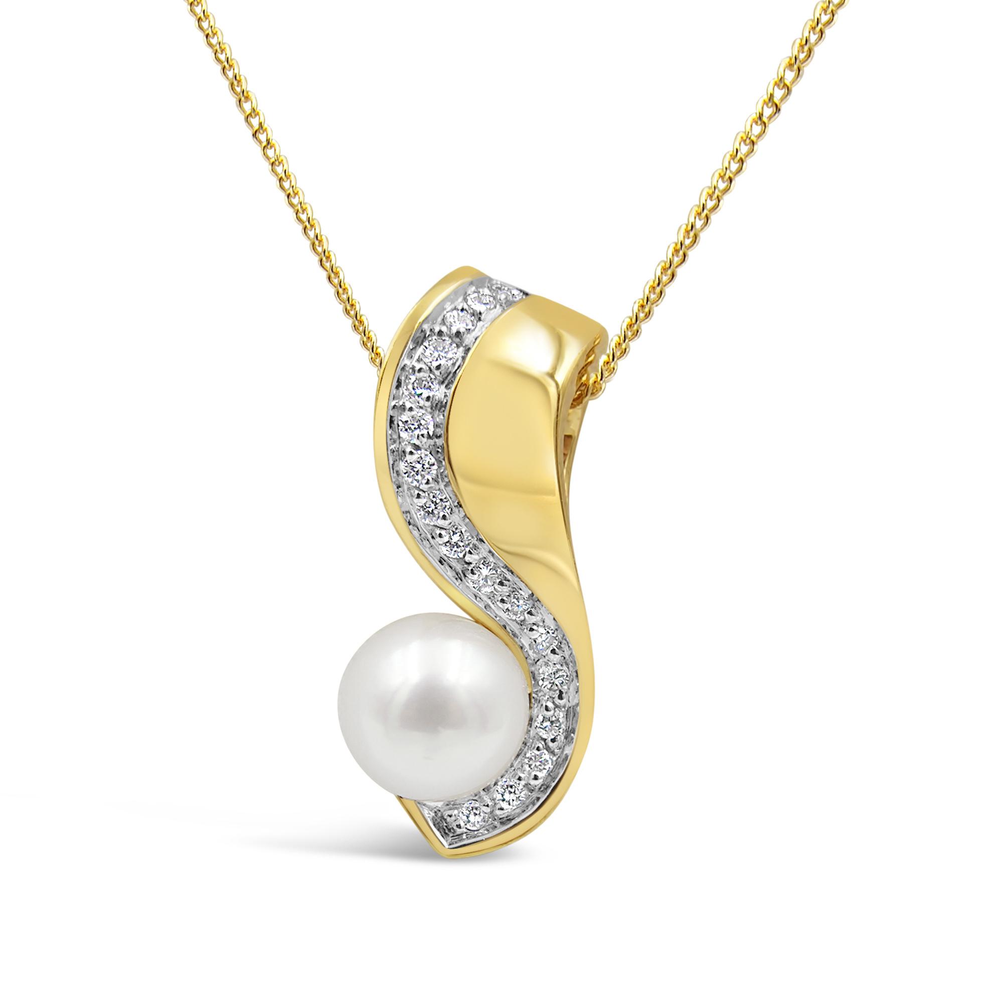 18 karat yellow & white gold pendant with 0.17 ct diamonds & freshwater pearl