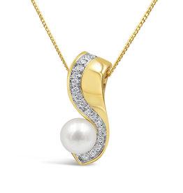 18 karaat geel & wit goud hanger met 0.17 ct diamanten & zoetwater parel