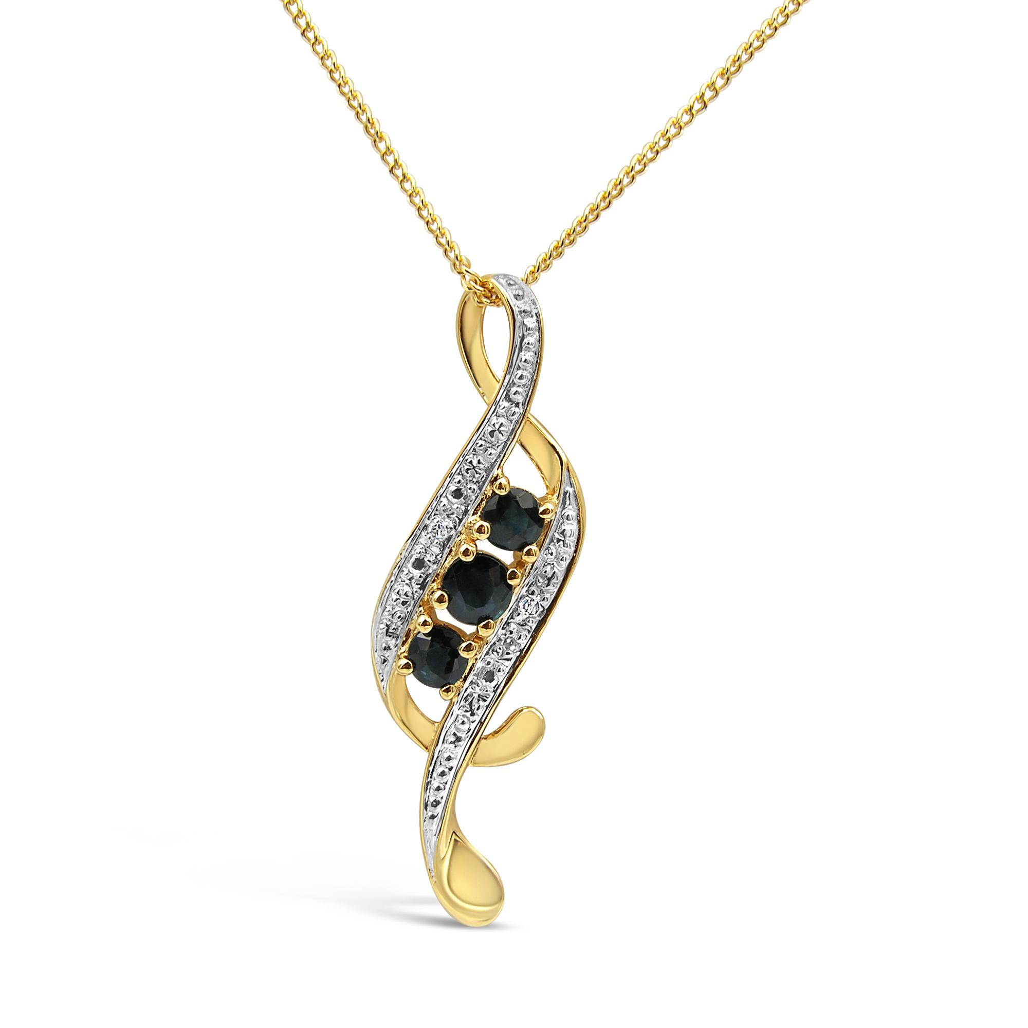 18 karat yellow & white gold pendant with 0.02 ct diamonds & 0.33 ct sapphire