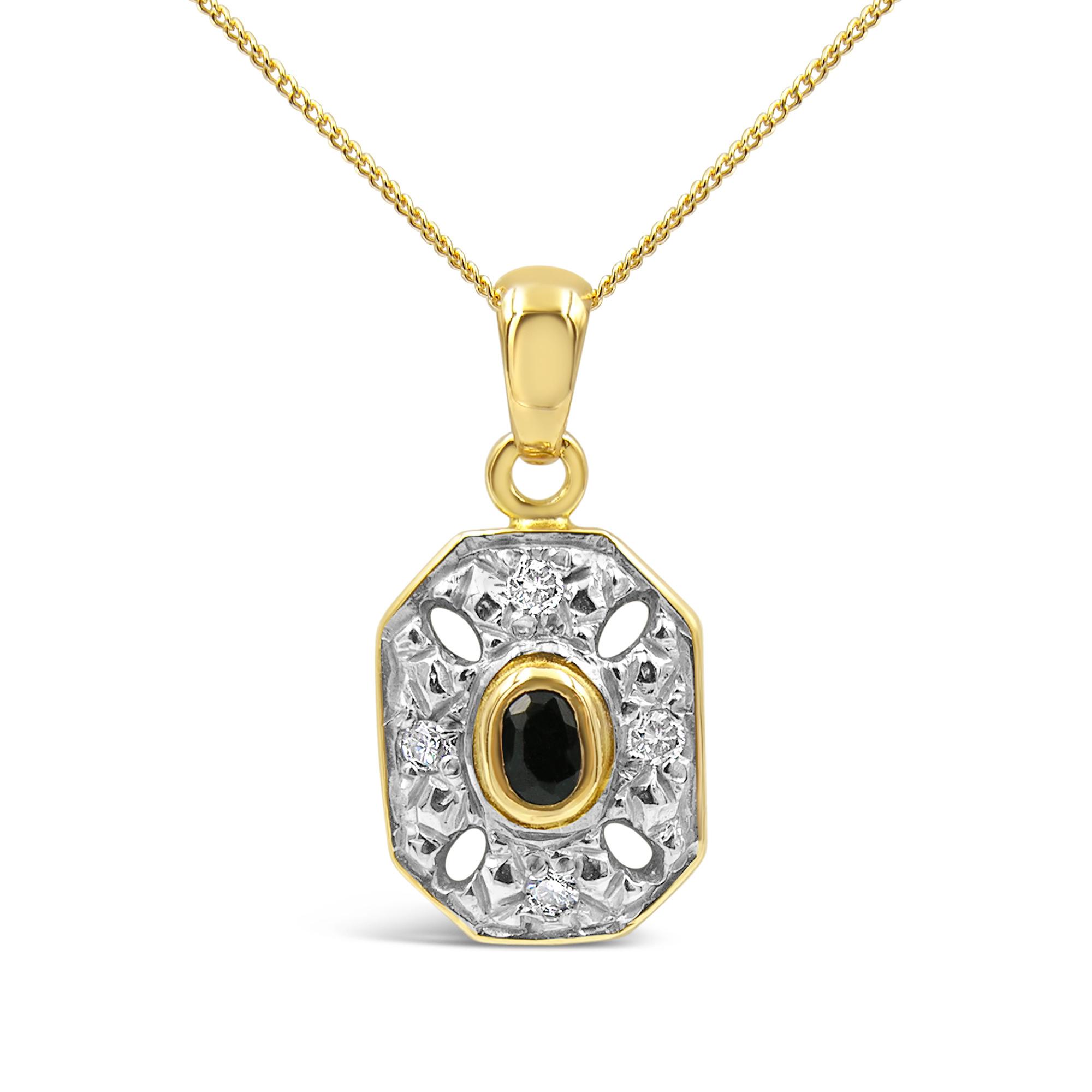 18 karaat geel & wit goud hanger met 0.08 ct diamanten & 0.05 ct safier