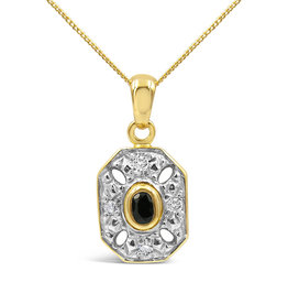18 karat yellow & white gold pendant with 0.08 ct diamonds & 0.05 ct sapphire