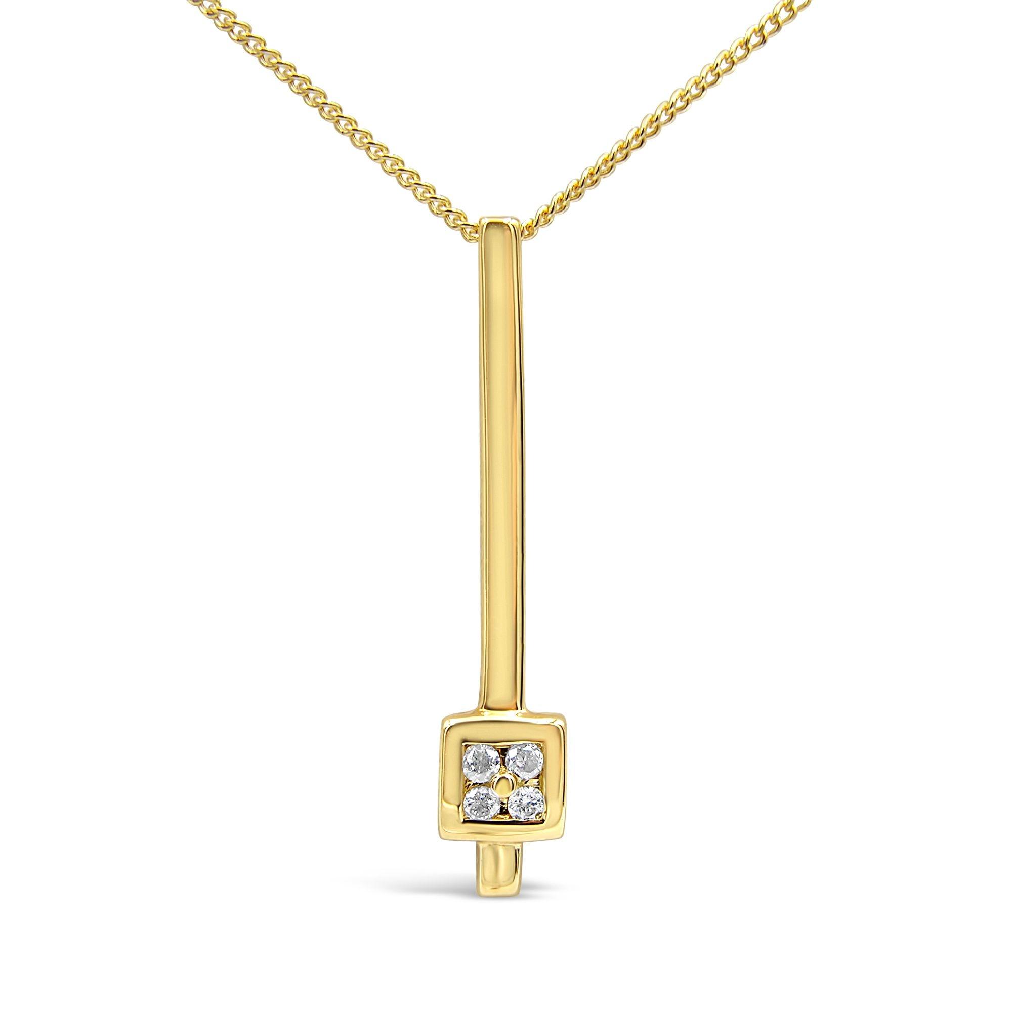 18 karaat geel goud hanger met 0.08 ct diamanten