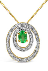18 karat yellow & white gold pendant with 0.15 ct diamonds & 0.45 ct emerald