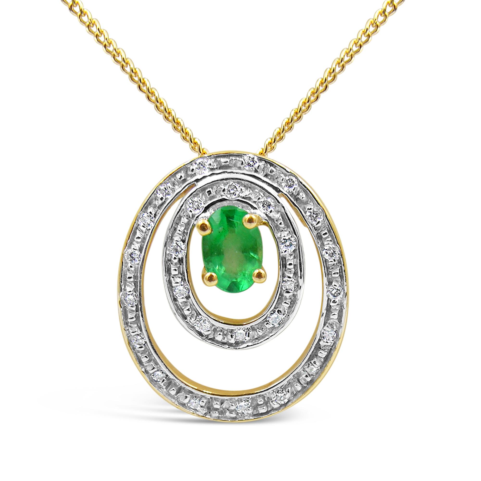18 karaat geel & wit goud hanger met 0.15 ct diamanten & 0.45 ct smaragd