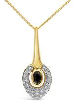18 karat yellow & white gold pendant with 0.10 ct diamonds & 0.25 ct sapphire