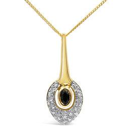 18 karaat geel & wit goud hanger met 0.10 ct diamanten & 0.25 ct safier