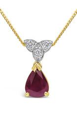 18 karat yellow & white gold pendant with 0.06 ct diamonds & 0.75 ct ruby