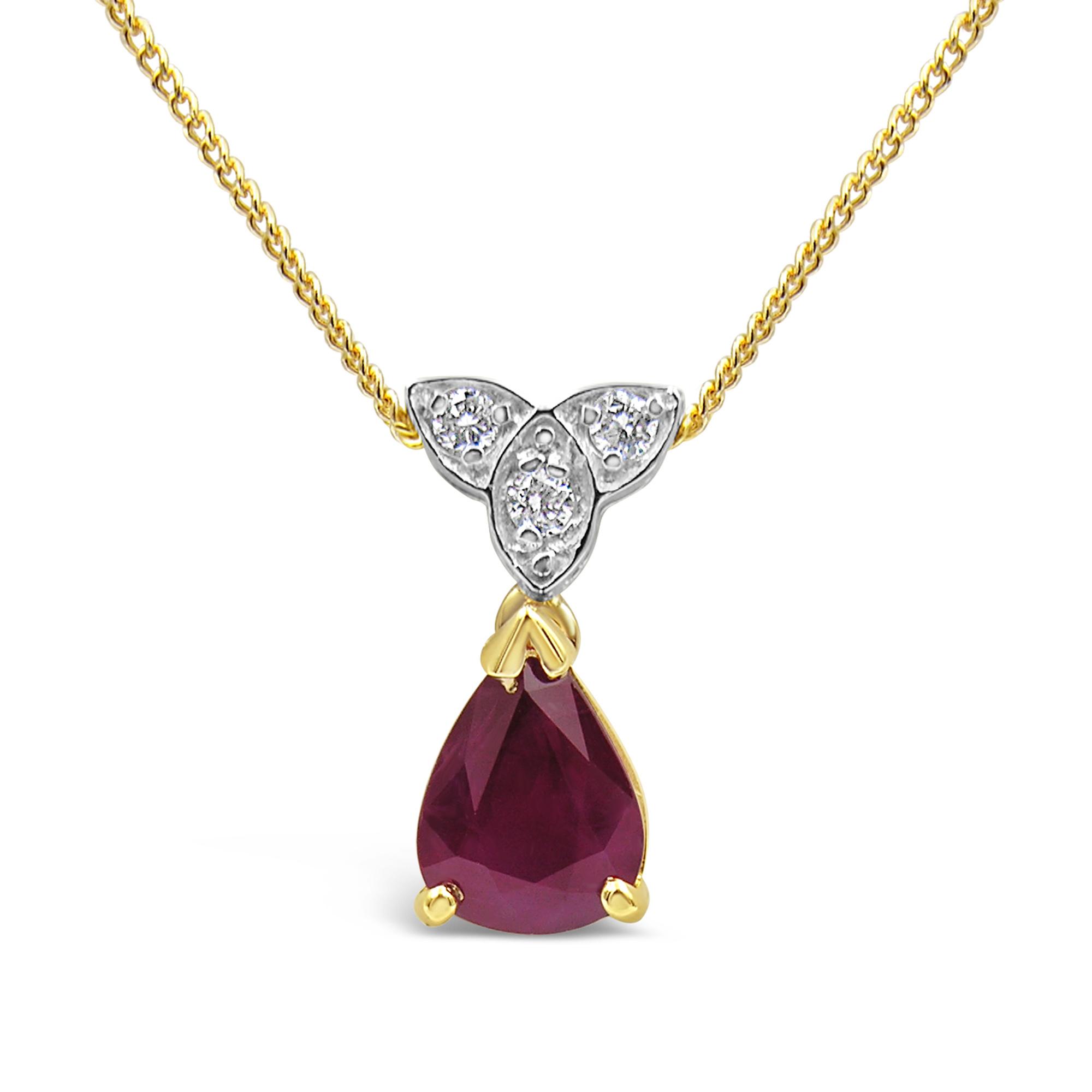 18 karaat geel & wit goud hanger met 0.06 ct diamanten & 0.75 ct robijn