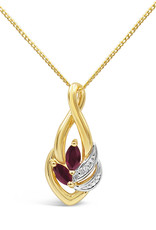 18 karat yellow & white gold pendant with 0.01 ct diamond & 0.20 ct ruby