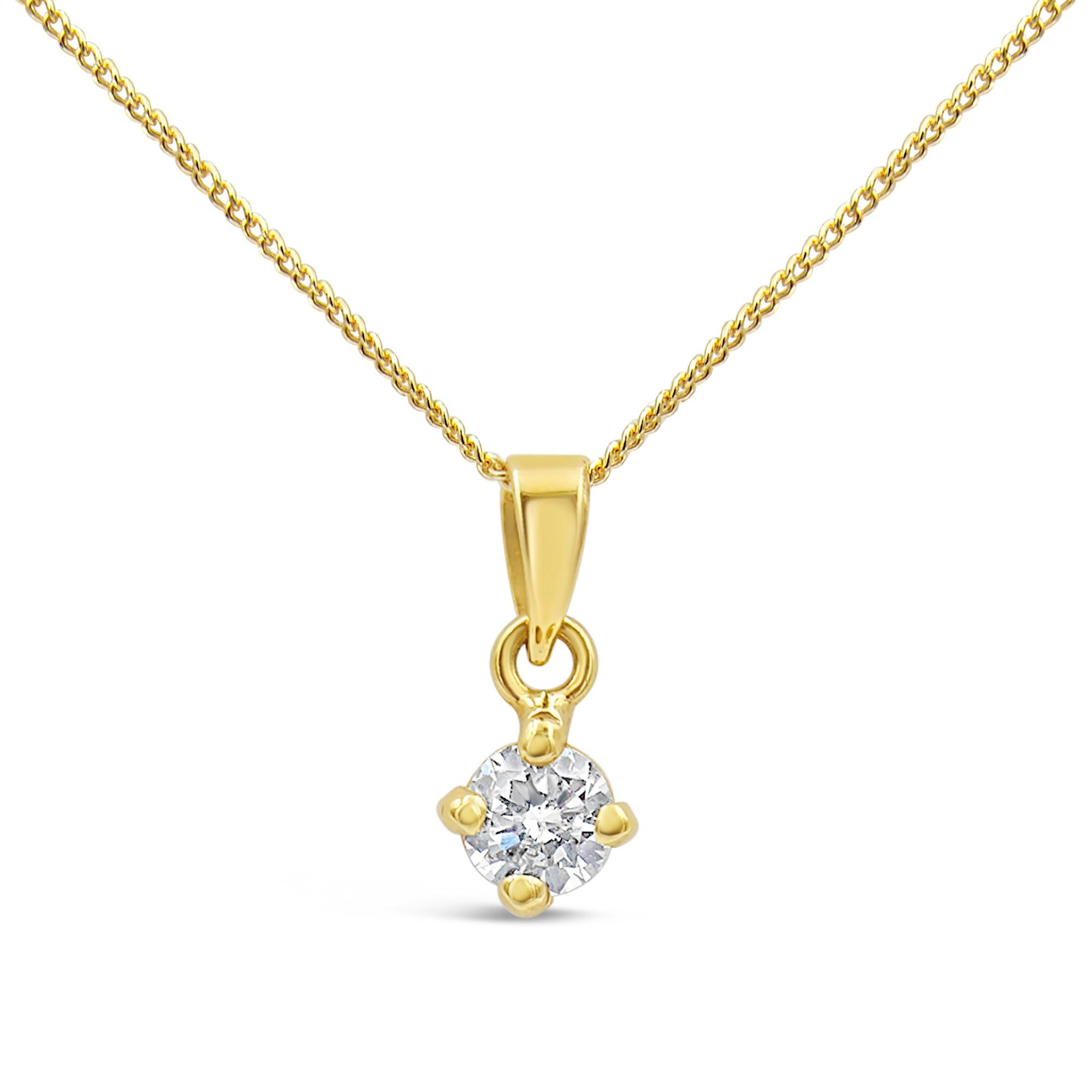 18 karat yellow gold pendant with 0.40 ct diamond