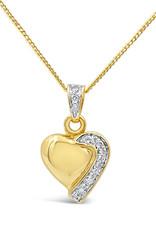 18 karat yellow & white gold heart pendant with 0.12 ct diamonds